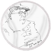 Man With Hat Round Beach Towel