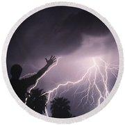 Man With Lightning, Arizona Round Beach Towel