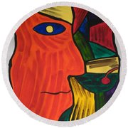 Man With Martini Glass Round Beach Towel