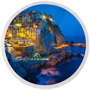 Manarola By Night Round Beach Towel