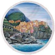 Manarola Cinque Terre Italy Round Beach Towel