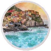 Manarola - Cinque Terre National Park - Liguria - Italy Round Beach Towel