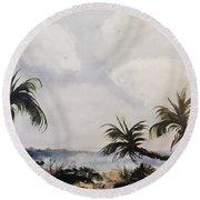 Manatee Skies Round Beach Towel
