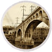 Manayunk Bridge Across The Schuylkill River In Sepia Round Beach Towel