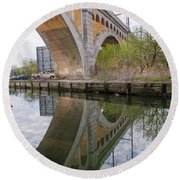 Manayunk Canal Bridge Reflection Round Beach Towel