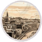 Manayunk In March - Canal View In Sepia Round Beach Towel