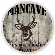 Mancave Deer Rack Round Beach Towel