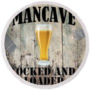 Mancave Locked And Loaded Round Beach Towel