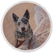 Mancha At The Beach Round Beach Towel