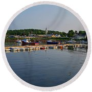 Manchester Harbor Manchester By The Sea Ma Round Beach Towel