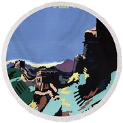 Manchuria And The Great Wall Vintage Poster Restored Round Beach Towel