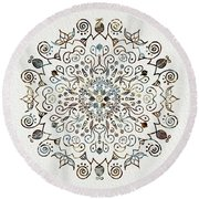 Mandala Earth And Water 4 Round Beach Towel