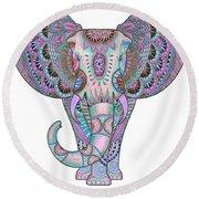 Mandala Elephant Indigo Round Beach Towel