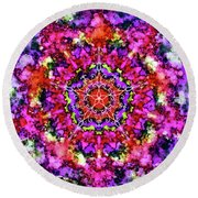 Mandala Floral Red Purple Round Beach Towel
