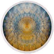 Mandala From The Garden 2 - Flower Feather Shield Round Beach Towel