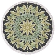 Mandala Leaves In Pale Blue, Green And Ochra Round Beach Towel