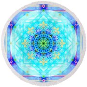 Mandala Of Womans Spiritual Genesis Round Beach Towel