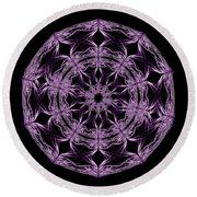 Mandala Purple And Black Round Beach Towel