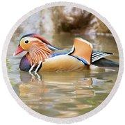 Mandarin Duck Swimming Round Beach Towel