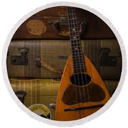 Mandolin And Suitcases Round Beach Towel