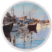 Mandraqi Rhodes Greece Round Beach Towel by Ylli Haruni