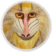 Mandrill Monkey Round Beach Towel