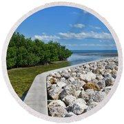 Mangroves Rocks And Ocean Round Beach Towel
