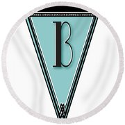 Pennant Deco Blues Banner Initial Letter B Round Beach Towel