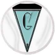 Pennant Deco Blues Banner Initial Letter G Round Beach Towel