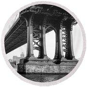 Manhattan Bridge, Afternoon Round Beach Towel by Gary Heller