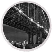 Manhattan Bridge Frames The Brooklyn Bridge Round Beach Towel by Susan Candelario