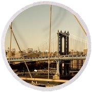 Manhattan Bridge From The Brooklyn Bridge  Round Beach Towel