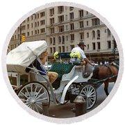 Manhattan Buggy Ride Round Beach Towel
