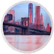 Manhattan -  New York City - Usa Round Beach Towel