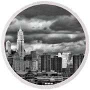 Manhattan Nyc Storm Clouds Cityview Round Beach Towel