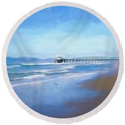 Manhattan Pier Blue Art Round Beach Towel