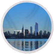 Manhattan Reflections  Round Beach Towel