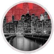 Manhattan Skyline - Graphic Art - Red Round Beach Towel