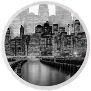 Manhattan Skyline - Graphic Art - White Round Beach Towel
