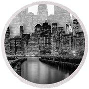 Manhattan Skyline - Graphic Art - White Round Beach Towel