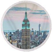 Manhattan Skyline Panoramic, New York City, Usa Round Beach Towel