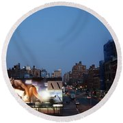 Manhattan View From The High Line Round Beach Towel