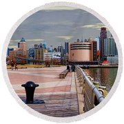 Manhattan West Side Panorama Round Beach Towel