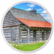 Manistique Schoolcraft County Museum Log Cabin -2158 Round Beach Towel