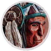 Manitou Cliff Dwellings Native American Round Beach Towel