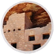 Manitou Cliff Dwellings Portrait Round Beach Towel