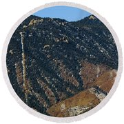 Manitou Incline Photographed From Red Rock Canyon Round Beach Towel
