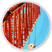 Manitowoc Red Boom Block And Hook Round Beach Towel