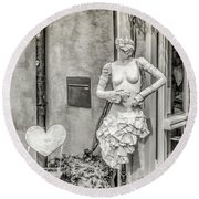 Mannequin On The Street Bw Round Beach Towel