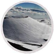 Mauna Kea Dressed In Snow Round Beach Towel